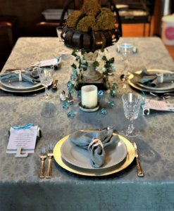 Greek dinner party tablescape