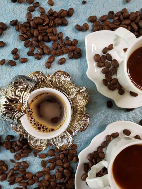 turkish coffee with beans