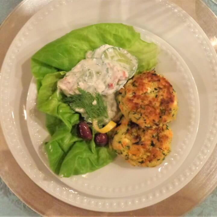 Zucchini Keftedes with Tangy Yogurt Cucumber Salad