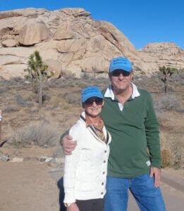nan and jay in blog cap in desert
