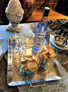 ouzo for flaming saganaki cheese appetizer