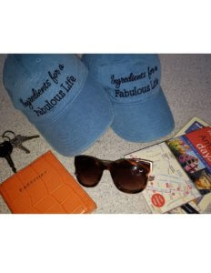 baseball caps with travel items