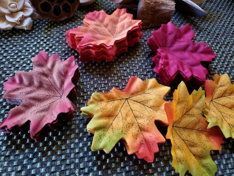 silk Fall leaves in stacks