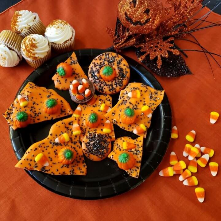 Fall Colors and Halloween Candy Bark