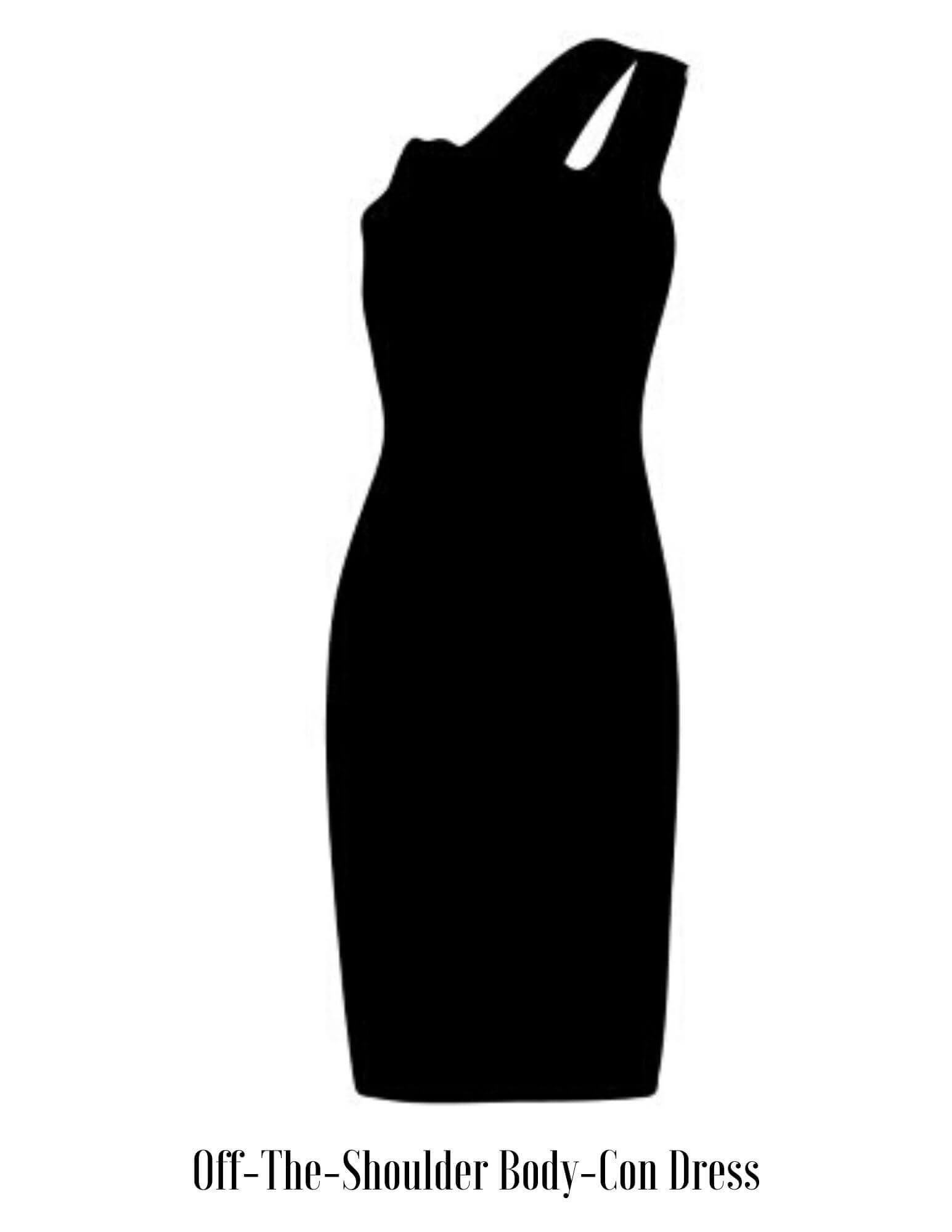 off the shoulder body con dress vector