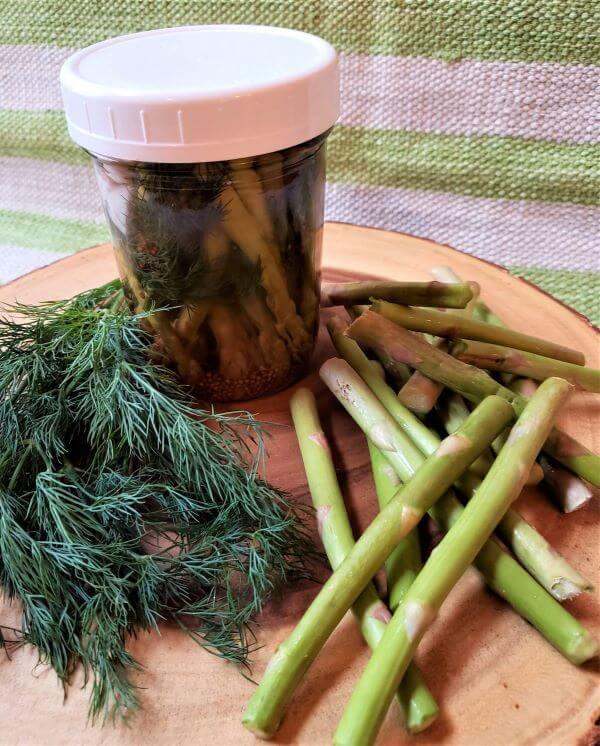 pickled asparagus in a jar