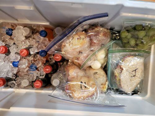 cooler filled with food