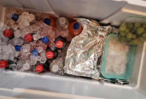 cooler packed with food