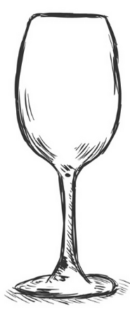 white wine glass drawing