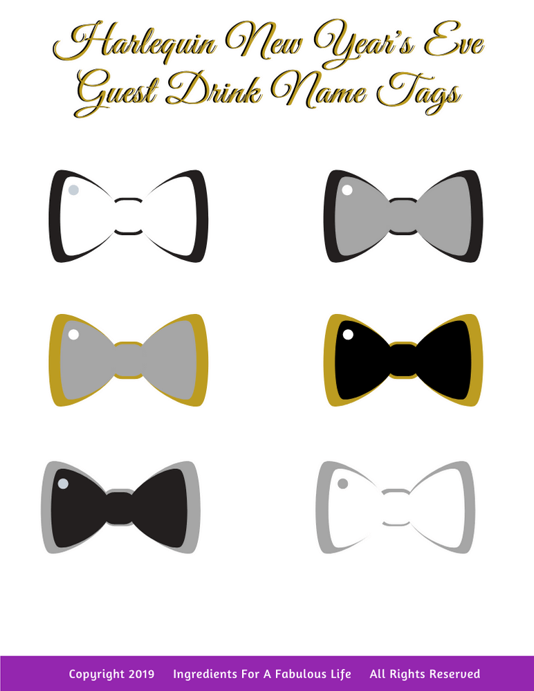 New years eve guest drink name tags