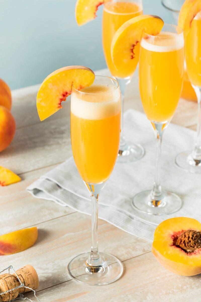 peach bellini cocktails