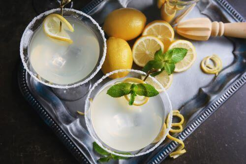 lemon drop cocktail on tray