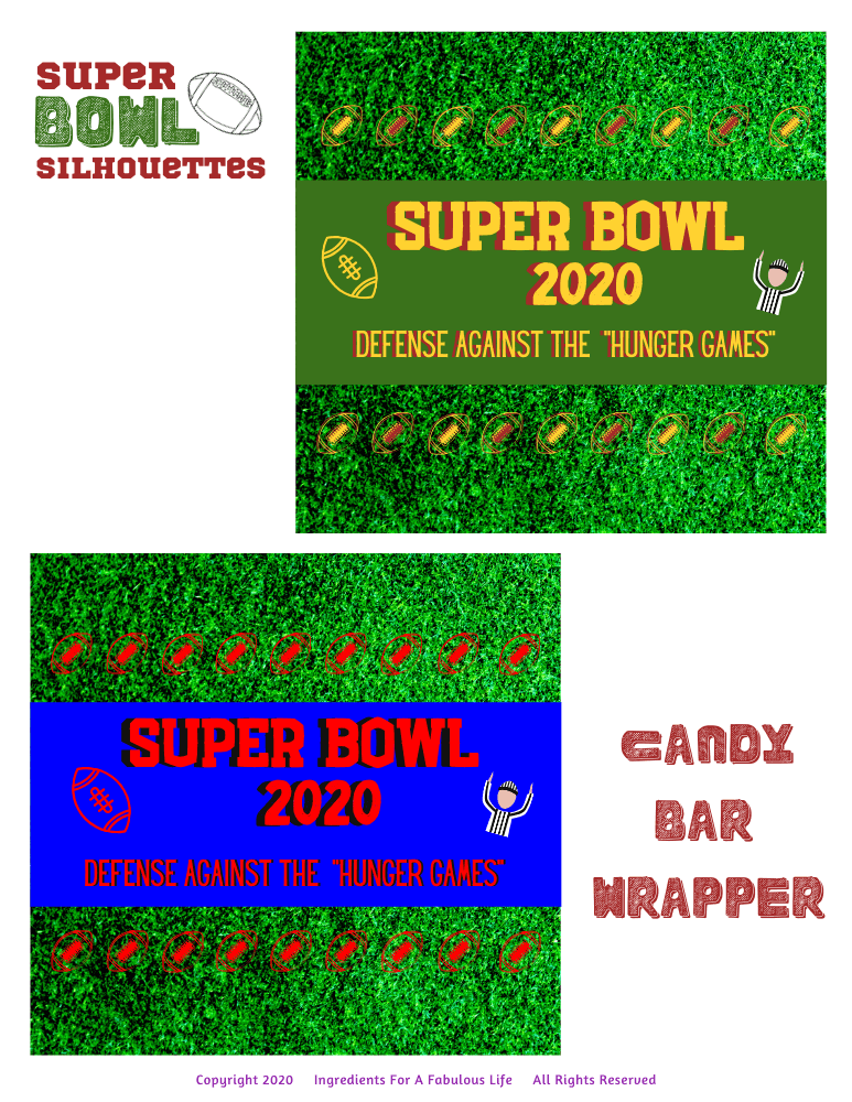 super bowl candy wrapper printable
