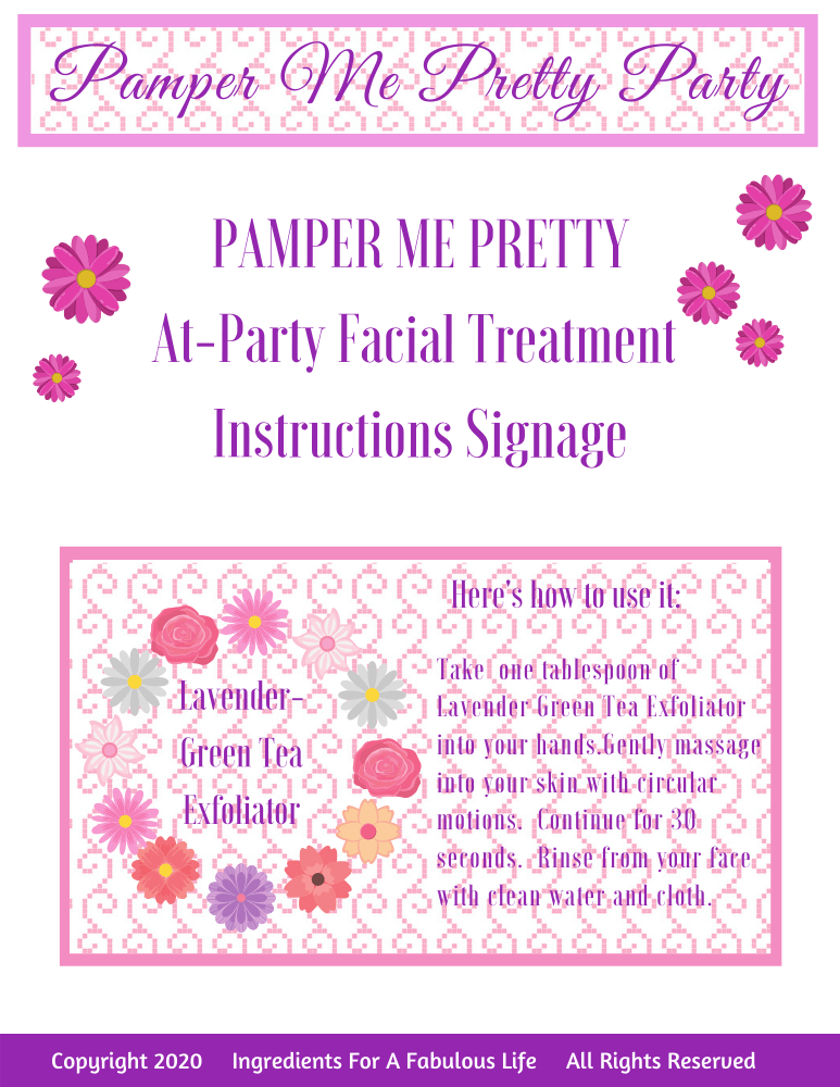 pamper me pretty party activities