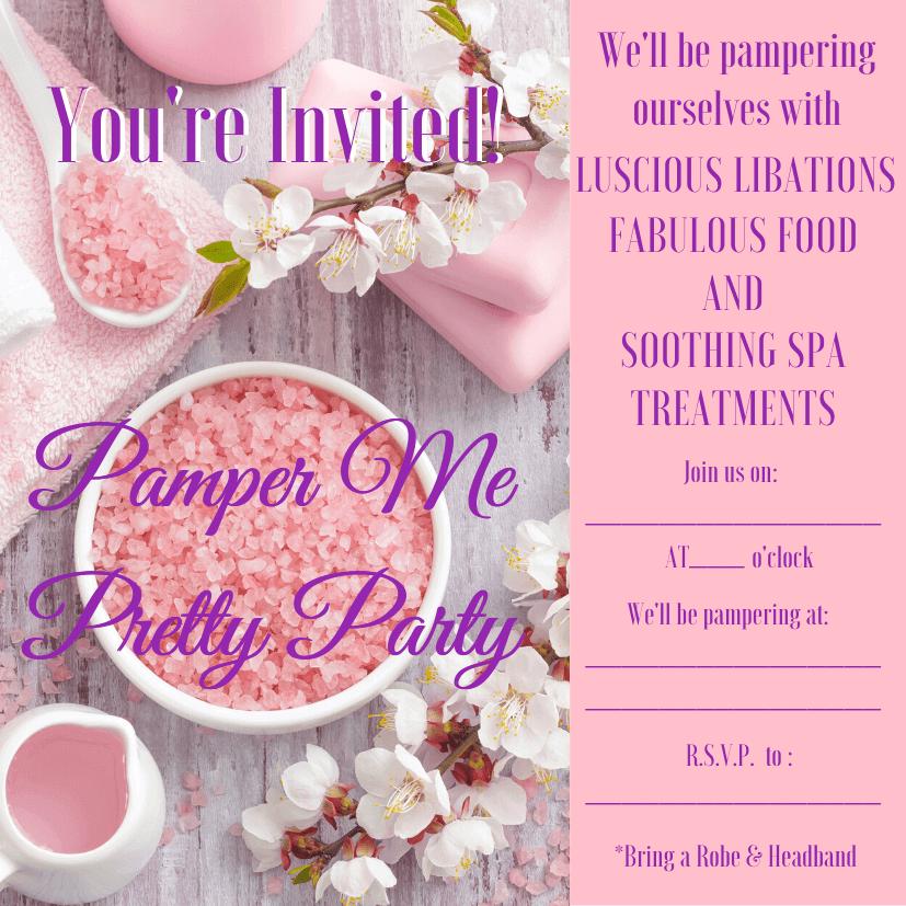 pamper me pretty party invitation pdf