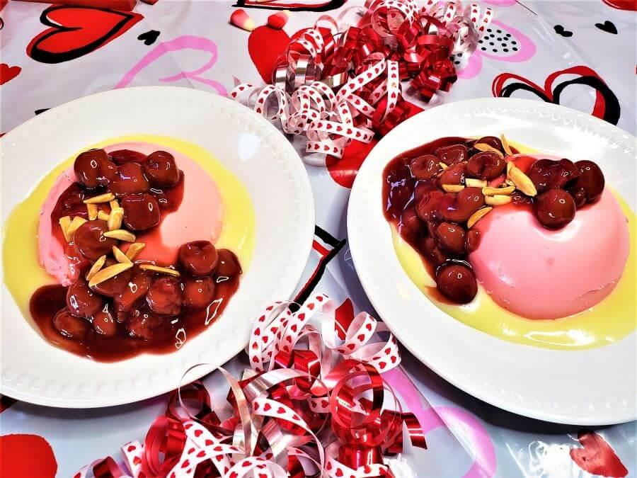 pink panna cotta with white chocolate and cherries