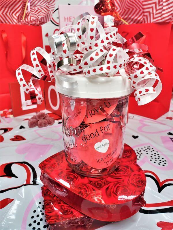 valentine love tokens in mason jar