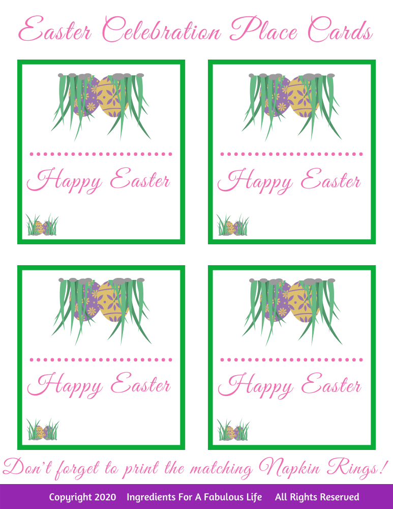 easter dinner guest place cards