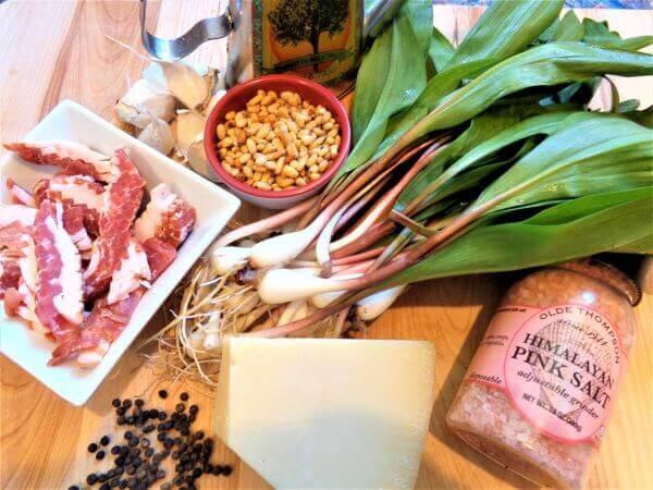 rack of lamb with bacon-ramp pesto