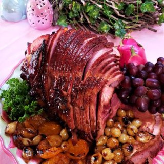 Apricot-Pomegranate Baked Ham with Onion Confit