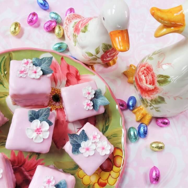 pretty in pink raspberry petit fours