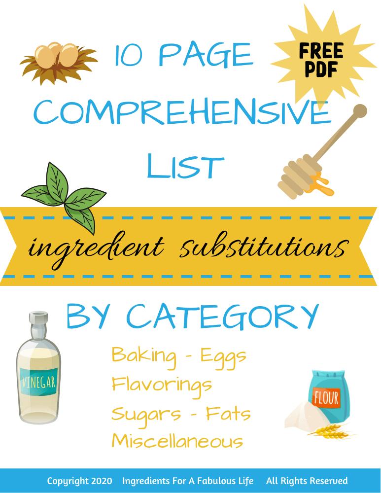 comprehensive ingredient substitutions list