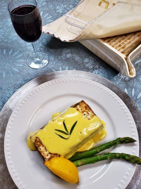 asparagus matzo terrine with hollandaise sauce