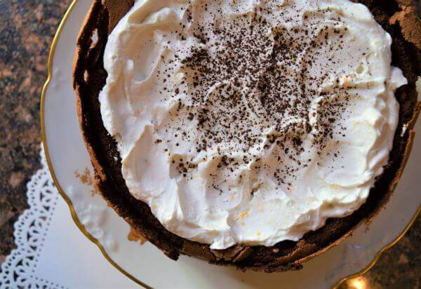 bittersweet chocolate mousse cake with non-dairy topping