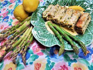 asparagus matzo terrine with blender hollandaise sauce