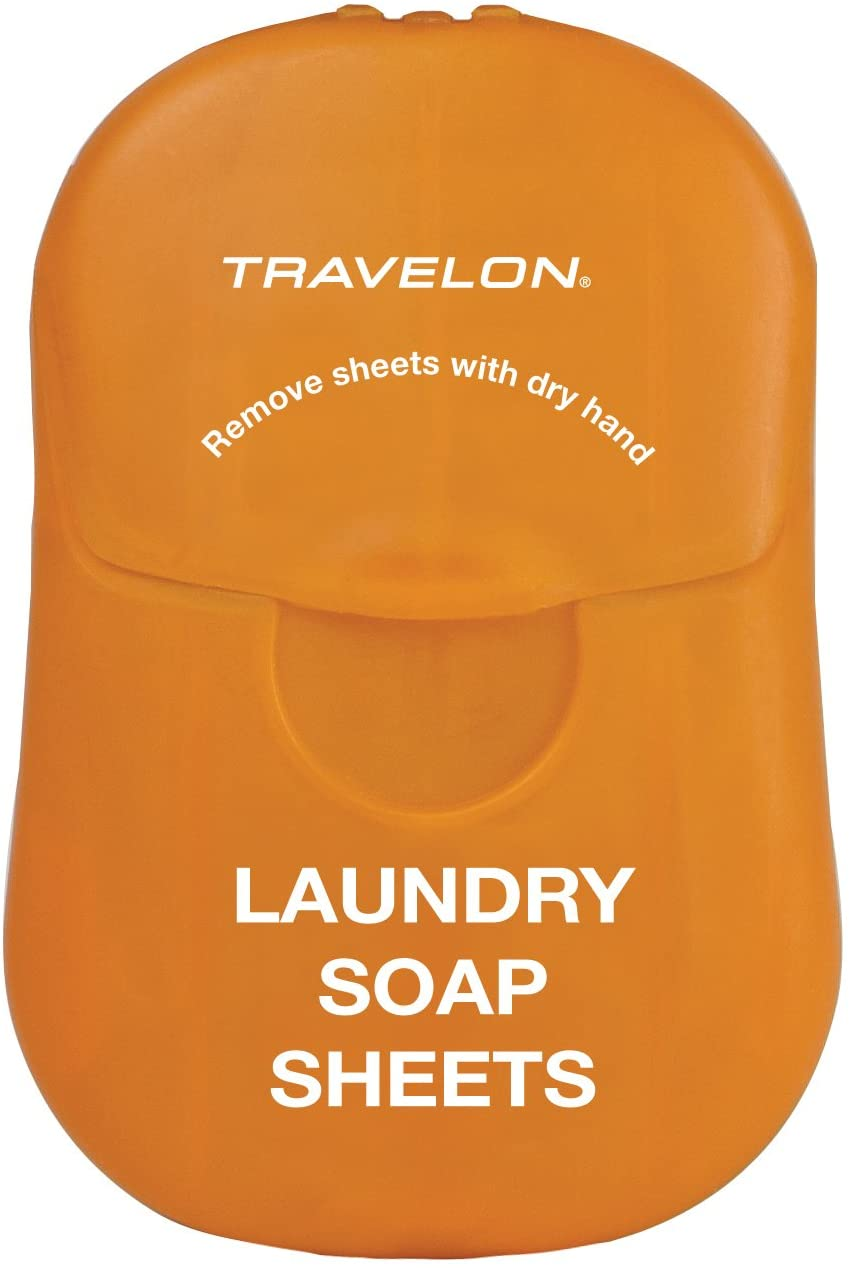 travelon laundry soap sheets in orange pouch