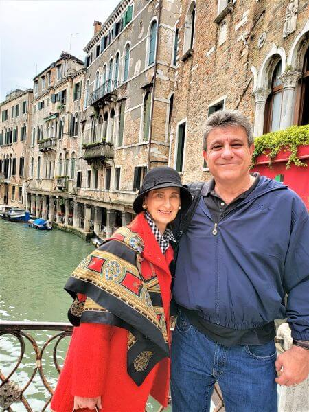 nan and jay on bridge in venice italy