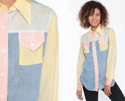 pastel colorblocked shirt on model