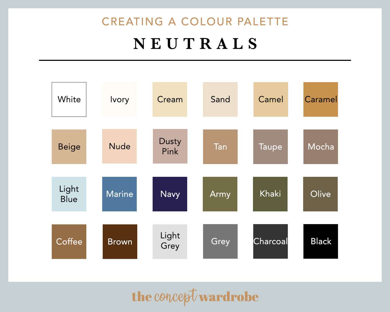 wardrobe neutral color chart