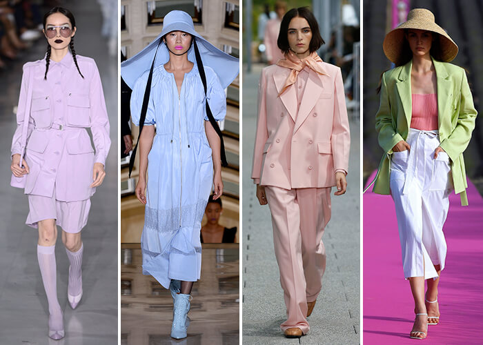 runway models dressed in pastel outfits