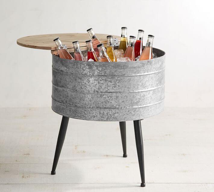 galvanized metal standing beverage cooler