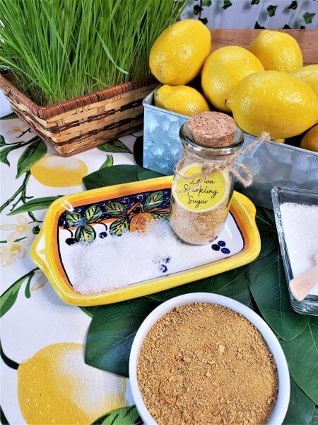 sparkling lemon sugar with lemon powder and fresh whole lemons