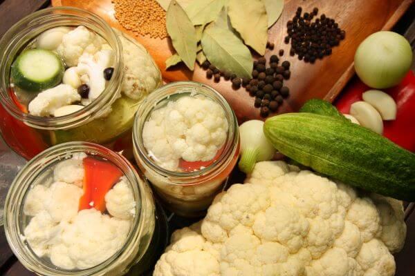 pickled cauliflower and ingredients
