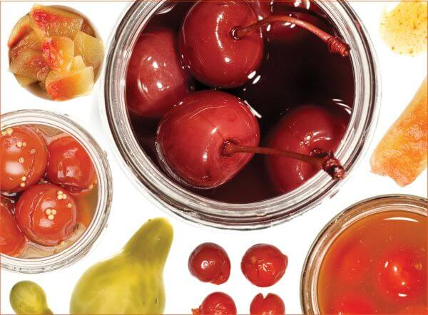 pickled fruits top view