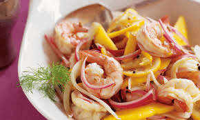pickled shrimp with lemons in bowl