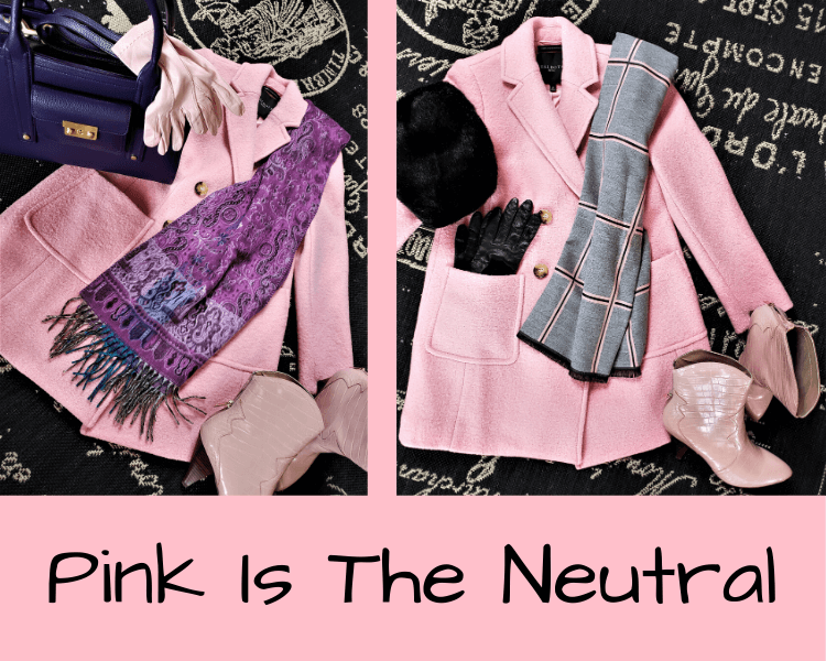 pink coat as a pastel neutral