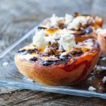 plank smoked peaches with sweet ricotta and nuts