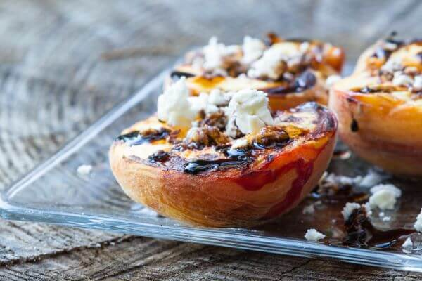 plank smoked peaches with sweet ricotta and nuts smoking food at home recipes