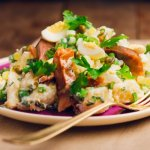 smoked fish and potato salad with creamy dill dressing