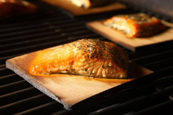 salmon smoked at home on plank