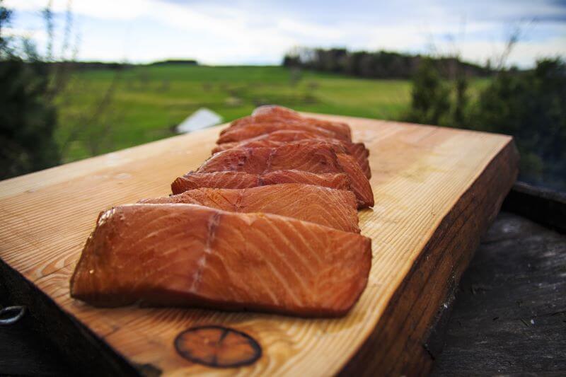 smoked salmon on plank