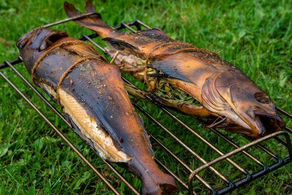 stuffed whole smoked fish on rack