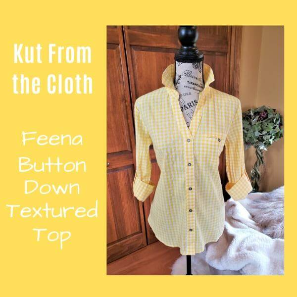yellow and white checked blouse in a yellow box with white text