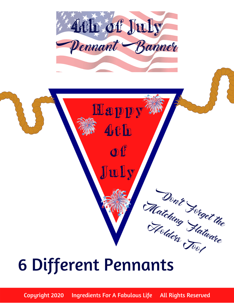 4th of July Pennant Banner PDF