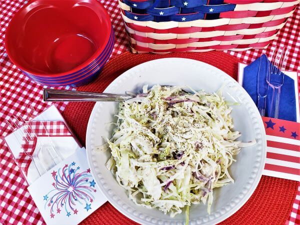 creamy celery seed cole slaw with 4th of july decorations