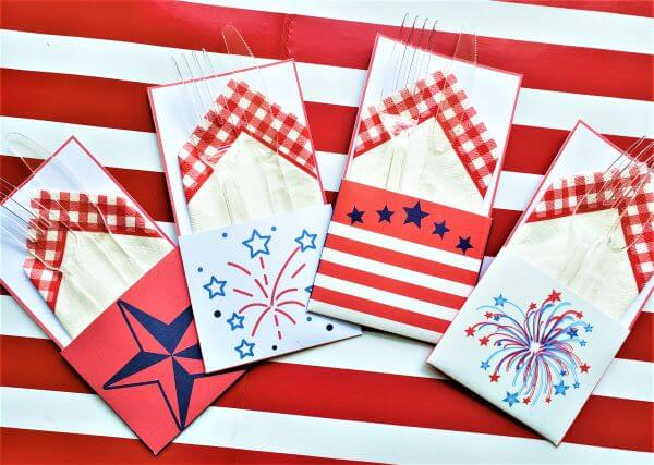 4th of July napkin and flatware holders
